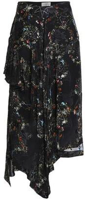 Preen by Thornton Bregazzi Asymmetric Devore Floral-print Silk-blend Chiffon Skirt