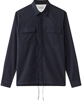 Jigsaw Cotton Fly Front Overshirt, Navy