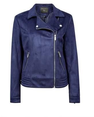 Dorothy Perkins Womens Navy Suedette Biker Jacket