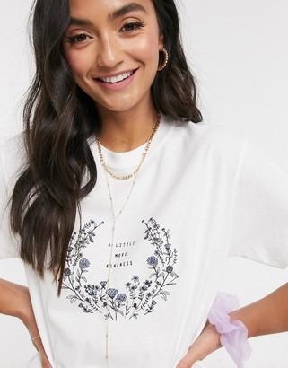 Miss Selfridge 'little more kindness' t-shirt in white