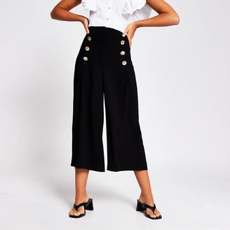 River Island Black button front culottes