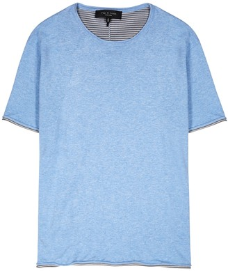Rag & Bone Palmer blue knitted cotton T-shirt