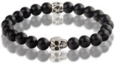 Vincent Mens Womens Beads Bracelet Steel Skull Head With Black Agate stones