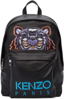 Kenzo Black Leather Tiger Backpack