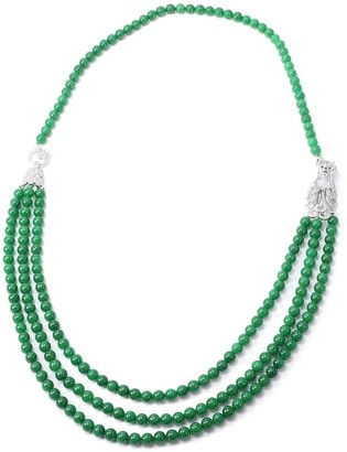 Shop Lc 925 Silver Green Dyed Jade White Zircon Necklace Size 32 In Ct 964.5 - Size 32''