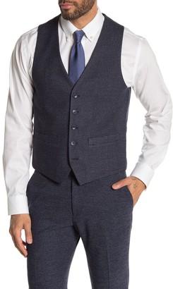 Moss Bros Medium Blue Check Skinny Fit Suit Separates Vest