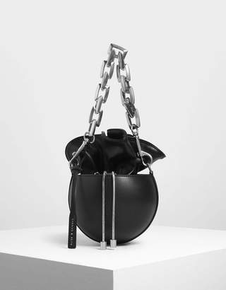 Charles & Keith Chunky Chain Strap Spherical Bucket Bag