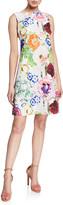Chiara Boni Abstract Floral-Print High-Neck Sleeveless A-Line Dress