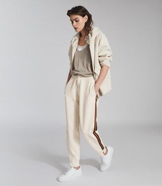 Reiss Danica - Side Stripe Loungewear Joggers in Ivory