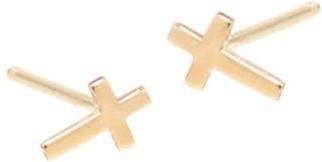 Zoë Chicco 14K Yellow Gold Itty Bitty Cross Stud Earrings