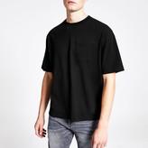 River Island Mens Black short sleeve boxy T-shirt