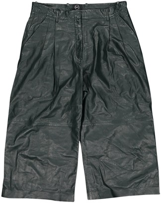 Alexander McQueen Green Leather Trousers