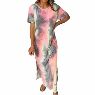 Timagebreze Pocket Straight Long Dress Side Split Casual Maxi Dress Boho Tie Dye Loose Short Sleeve Robe S Size Blue