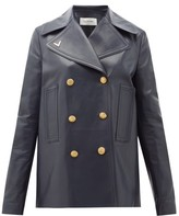 Valentino Double-breasted Logo-plaque Leather Peacoat - Womens - Navy
