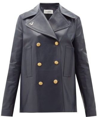 Valentino Double-breasted Logo-plaque Leather Peacoat - Navy