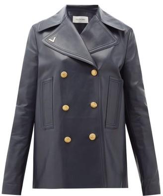 Valentino V-gold Leather Peacoat - Navy
