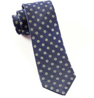 Tie Bar Half Moon Floral Navy Tie