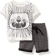 Old Navy 2-Piece Graphic Tee and Printed Shorts Set for Baby