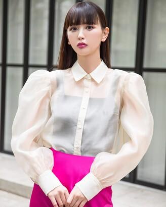 The Drop Women's Vintage Beige Loose Sheer Organza Button Down Shirt by @emisuzuki S