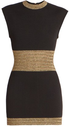 Balmain Metallic Knit Cap-Sleeve Mini Dress