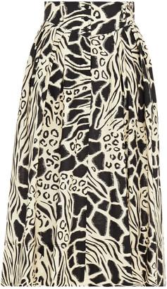 Alberta Ferretti Pleated Printed Linen And Cotton-blend Midi Skirt