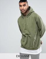 Reclaimed Vintage Inspired Oversized Hoodie In Green Overdye