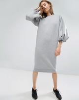 Asos Balloon Sleeve Midi Sweat Dress