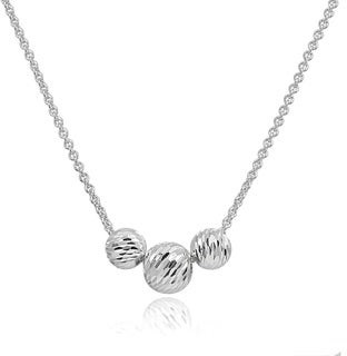 Mondevio Diamond-Cut 8mm & 10mm Sliding Beads Necklace in Sterling Silver