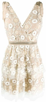 Self-Portrait Flower Sequin Tiered Mini