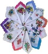 Topshop Top Shop FTSUCQ Womens/Girls Vintage Multi Floral Wedding Party Cotton Handkerchiefs,12pcs Sets