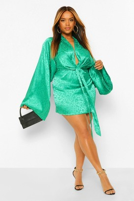 boohoo Plus Satin Leopard Kimono Sleeve Shift Dress