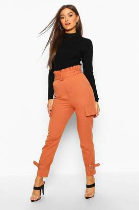 boohoo Buckle Ankle Pocket Side Cargo Trousers