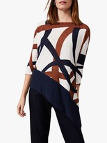 Phase Eight Lydia Linear Swirl Print Knit Top, Multi