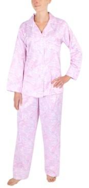 Miss Elaine Petite Cozy Brushed Back Satin Pajama Set
