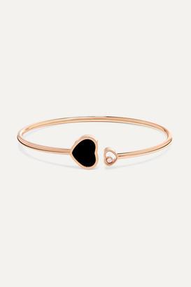 Chopard Happy Hearts 18-karat Rose Gold, Diamond And Onyx Cuff - one size