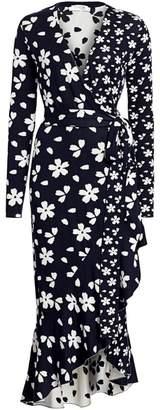 Oscar de la Renta Floral Silk-Blend Knit Midi Wrap Dress