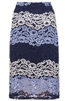 Quiz Navy And Silver Lace Midi Skirt