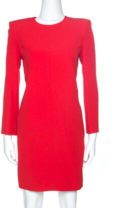 Givenchy Red Crepe Padded Shoulder Shift Dress S