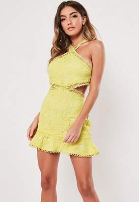 Missguided Lace Halterneck Cut Out Mini Dress