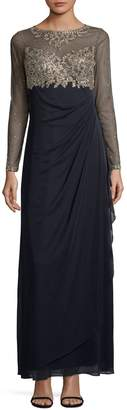Xscape Evenings Long-Sleeve Illusion Bodice Gown