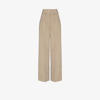 Lemaire High Waist Wool Gabardine Wide Leg Trousers