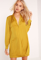 Missguided Silky Cross Over Wrap Shirt Dress Chartreuse Green