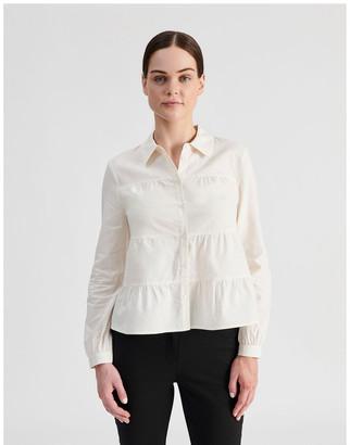 Tokito Petite Linen Blend Tiered Shirt