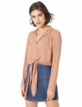 BCBGeneration Women's TIE Front Long Sleeve Woven TOP
