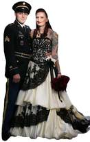 D.W.U Vintage Handmade Long Gothic Wedding Dresses A-line Bridal Gowns Black+White