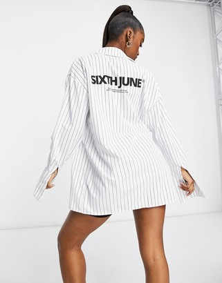 Sixth June coordinating oversized shirt with back logo in pinstripe