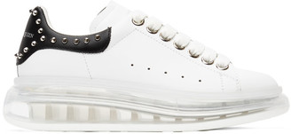 Alexander McQueen White and Black Studded Clear Sole Oversized Sneakers