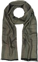 Mila Schon Khaki Stripe Wooden Fiber Fringed Long Scarf