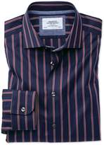 Charles Tyrwhitt Slim Fit Semi-Spread Collar Business Casual Boating Navy and Red Stripe Cotton Dress Casual Shirt Single Cuff Size 15/33