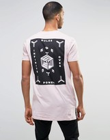 Asos Super Longline T-Shirt With Geo Chest And Back Print In Pink